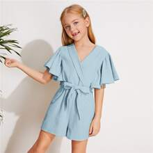 Girls Shawl Collar Flutter Sleeve Self Belted Romper