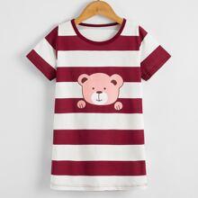 Toddler Girls Cartoon Bear Print Night Dress
