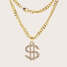 1pc Maenner Strass Gravierte Dollar Charm Halskette