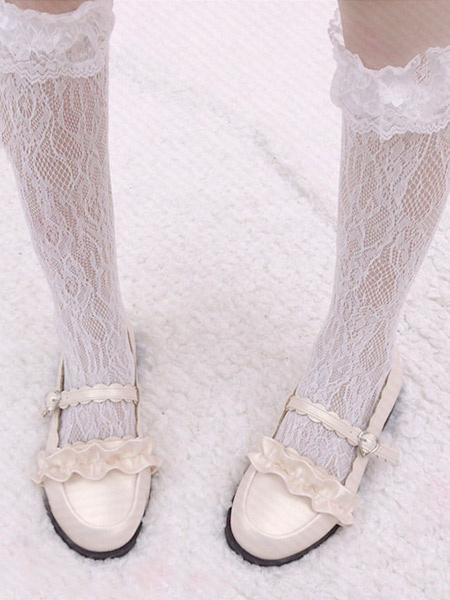 Milanoo Sweet Lolita Socks Lilith Eye Lace White Lolita Tights