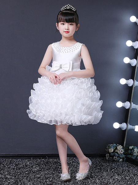 Milanoo Flower Girl Dresses Jewel Neck Sleeveless Pearls Kids Party Dresses