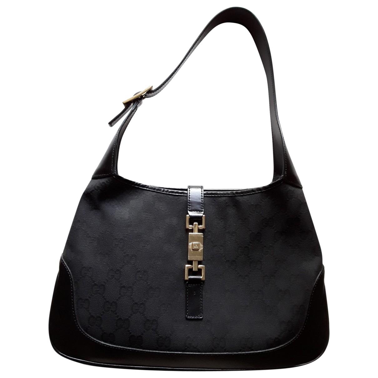 Gucci Jackie Vintage  Handtasche in  Schwarz Leinen