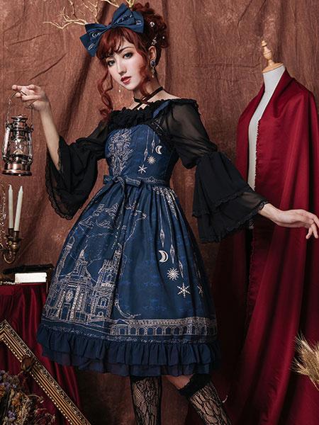 Milanoo Classic Lolita JSK Dress City Of Elk Bow Ruffle Lolita Jumper Skirt