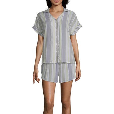 Ambrielle Womens Shorts Pajama Set 2-pc. Short Sleeve, Large , Green