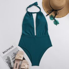 Plain Plunging Halter One Piece Swimsuit