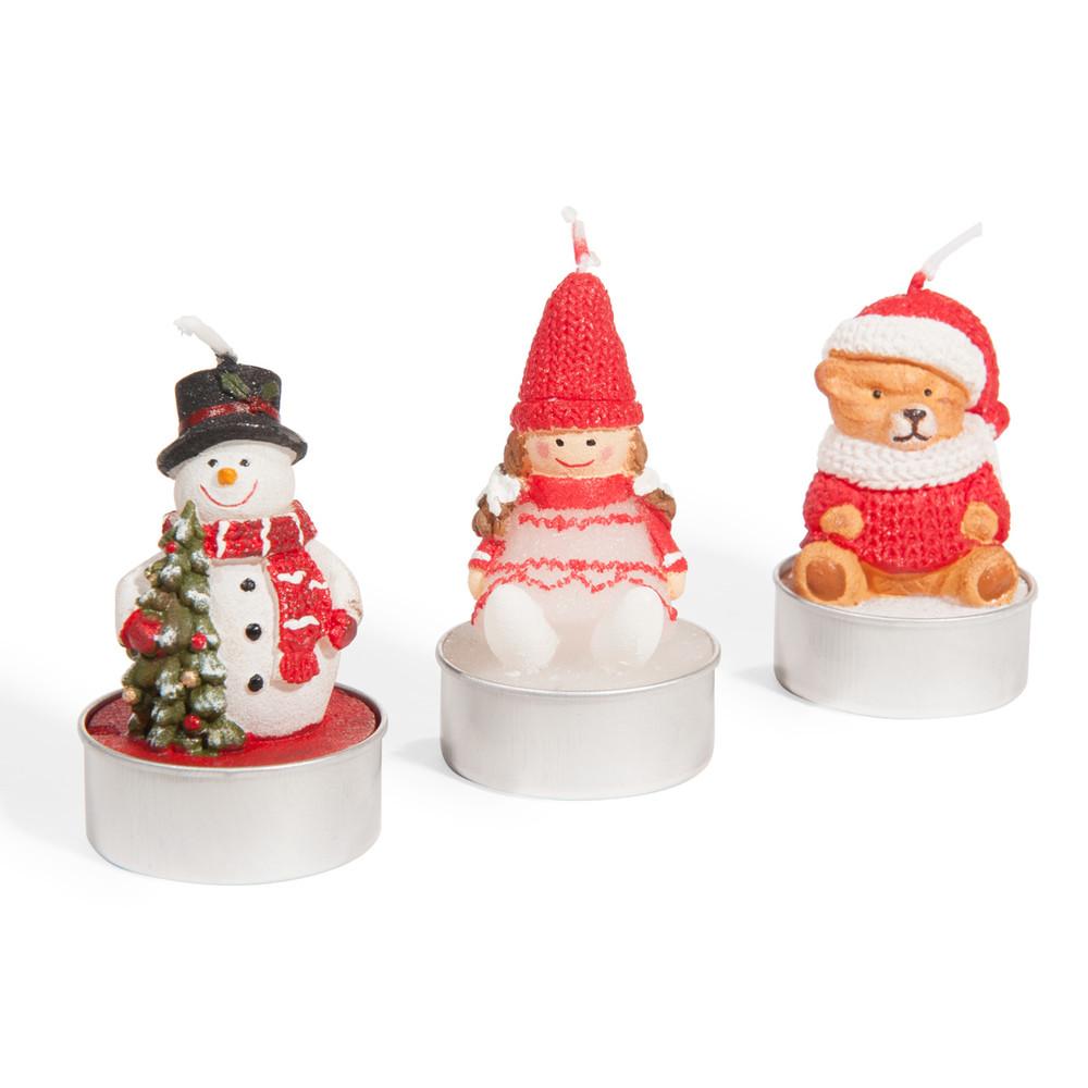 Weihnachtsfiguren-Kerzen (x3)