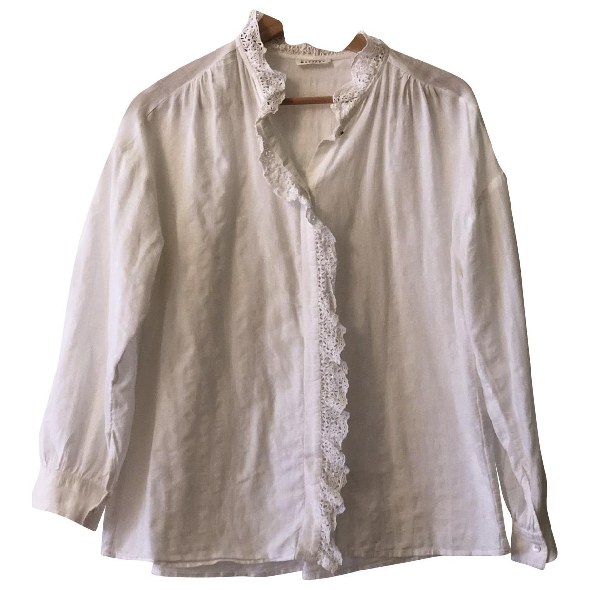 Masscob - Top   pour femme en coton - blanc