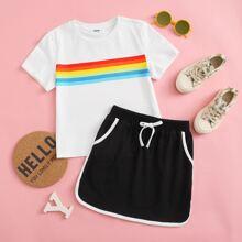 Top mit Regenbogen Streifen & Rock mit Kontrast Bindung