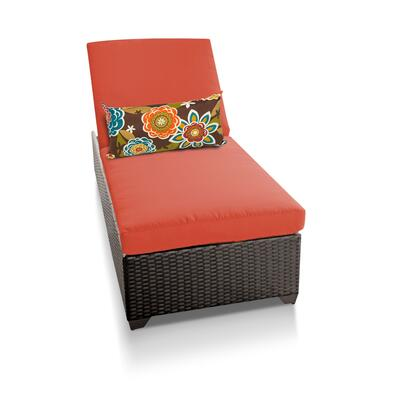 Barbados BARBADOS-1x-TANGERINE Outdoor Wicker Patio Chaise - Wheat and Tangerine