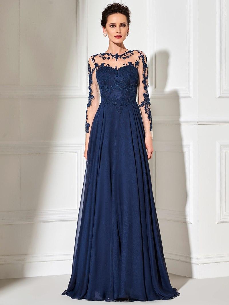 Ericdress Applique Sheer Long Sleeves Evening Dress