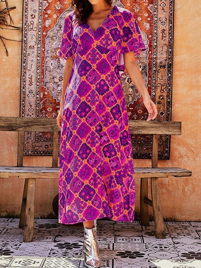 Ericdress V-Neck Mid-Calf Short Sleeve Sweet Summer Dress