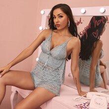 Contrast Lace Bow Front Modal Cami PJ Set