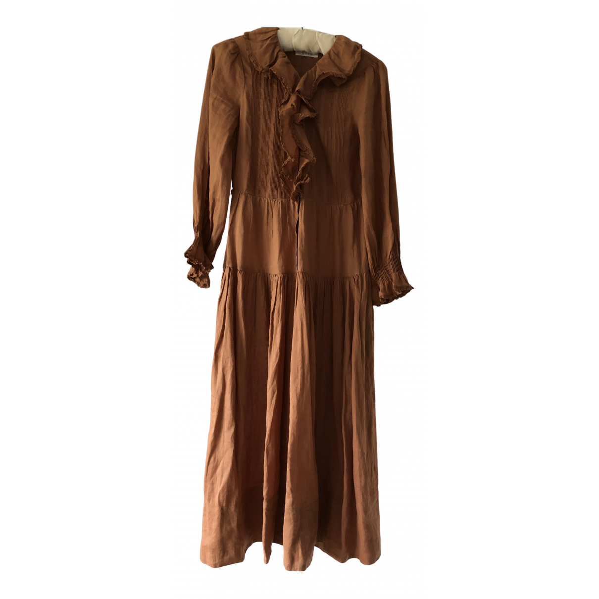 Doen \N Kleid in  Kamel Leinen