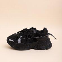 Sneakers mit Band vorn und Netzstoff Einsatz