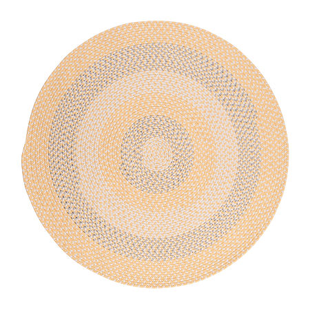 Colonial Mills Happy-Style Braided Round Reversible Indoor/Outdoor Rugs, One Size , Yellow