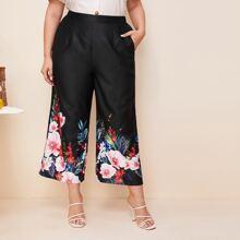 Plus Floral Print Wide Leg Pants