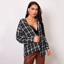 Tweed Mantel mit Knopfen vorn und Karo Muster
