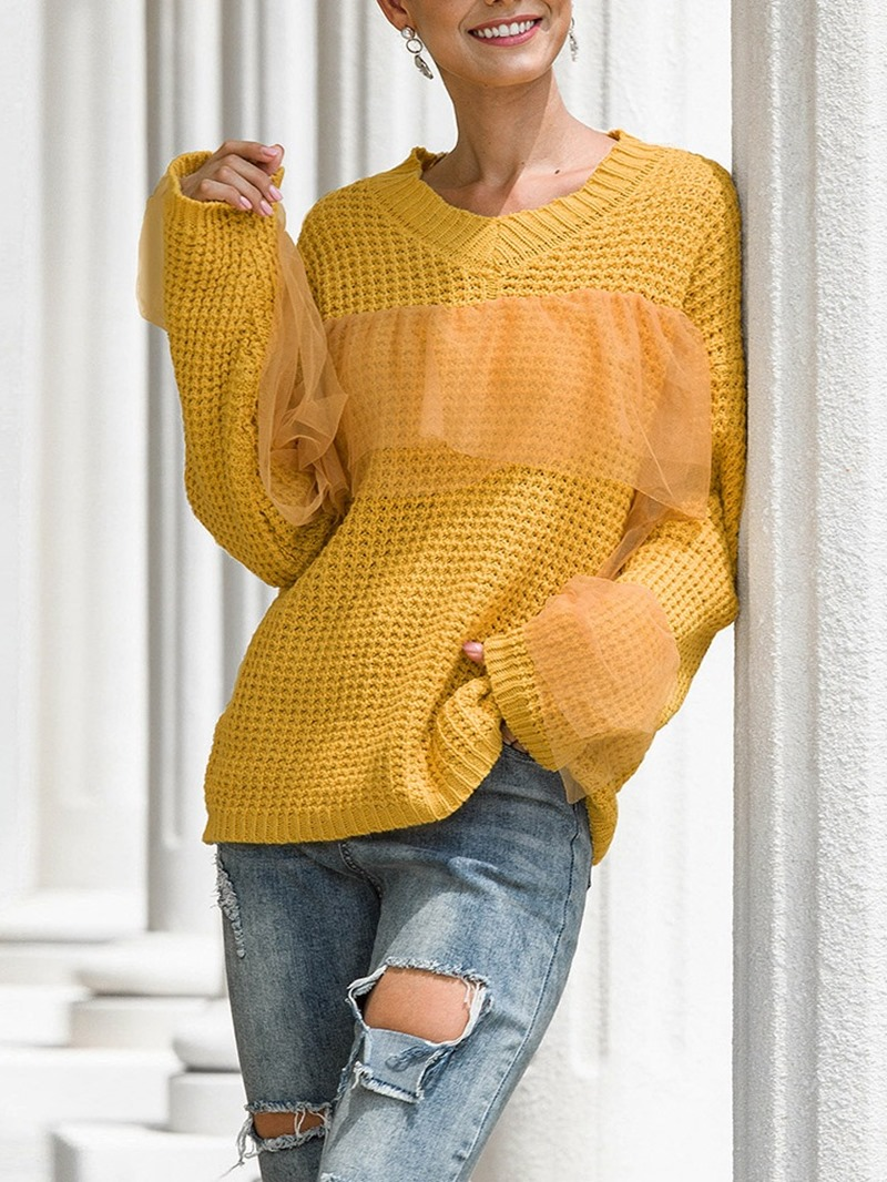 Ericdress Regular Mesh Regular Long Sleeve V-Neck Women's Sweater