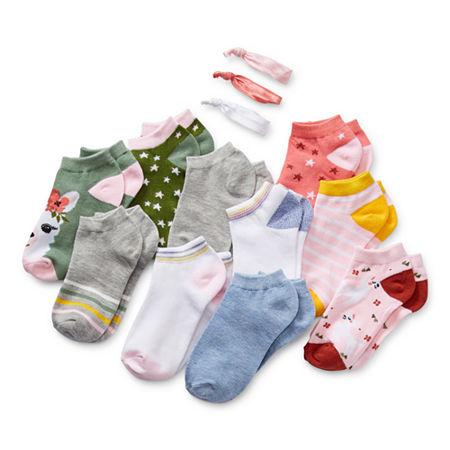 Arizona Big Girls 10 Pair Low Cut Socks, Medium , Green