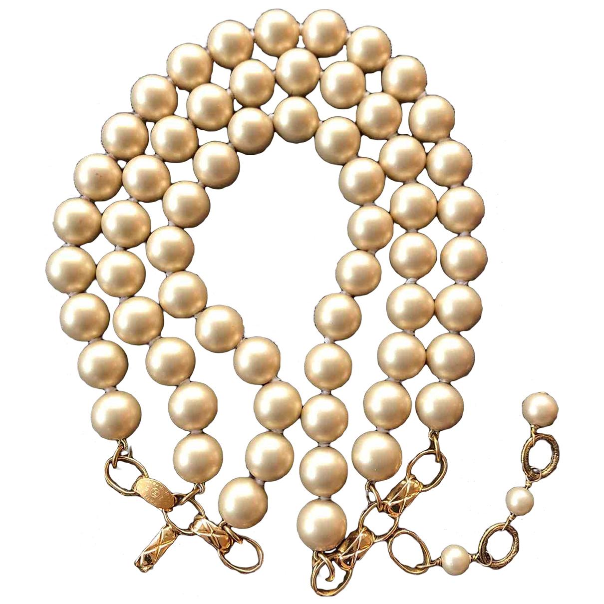 Chanel - Collier Matelasse pour femme en perles - jaune