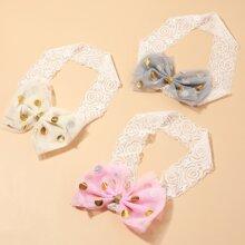 3pcs Baby Girl Bow Decor Lace Headband