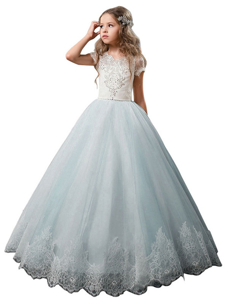 Milanoo Flower Girl Dresses V-Neck Tulle Short Sleeves Ankle Length Ball Gown Bows Kids Pageant Dresses