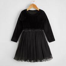 Samt Kleid mit Netzeinsatz