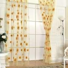 1pc Sunflower Print Curtain