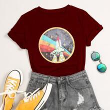 T-Shirt mit Rakete Muster und Rundhalsausschnitt