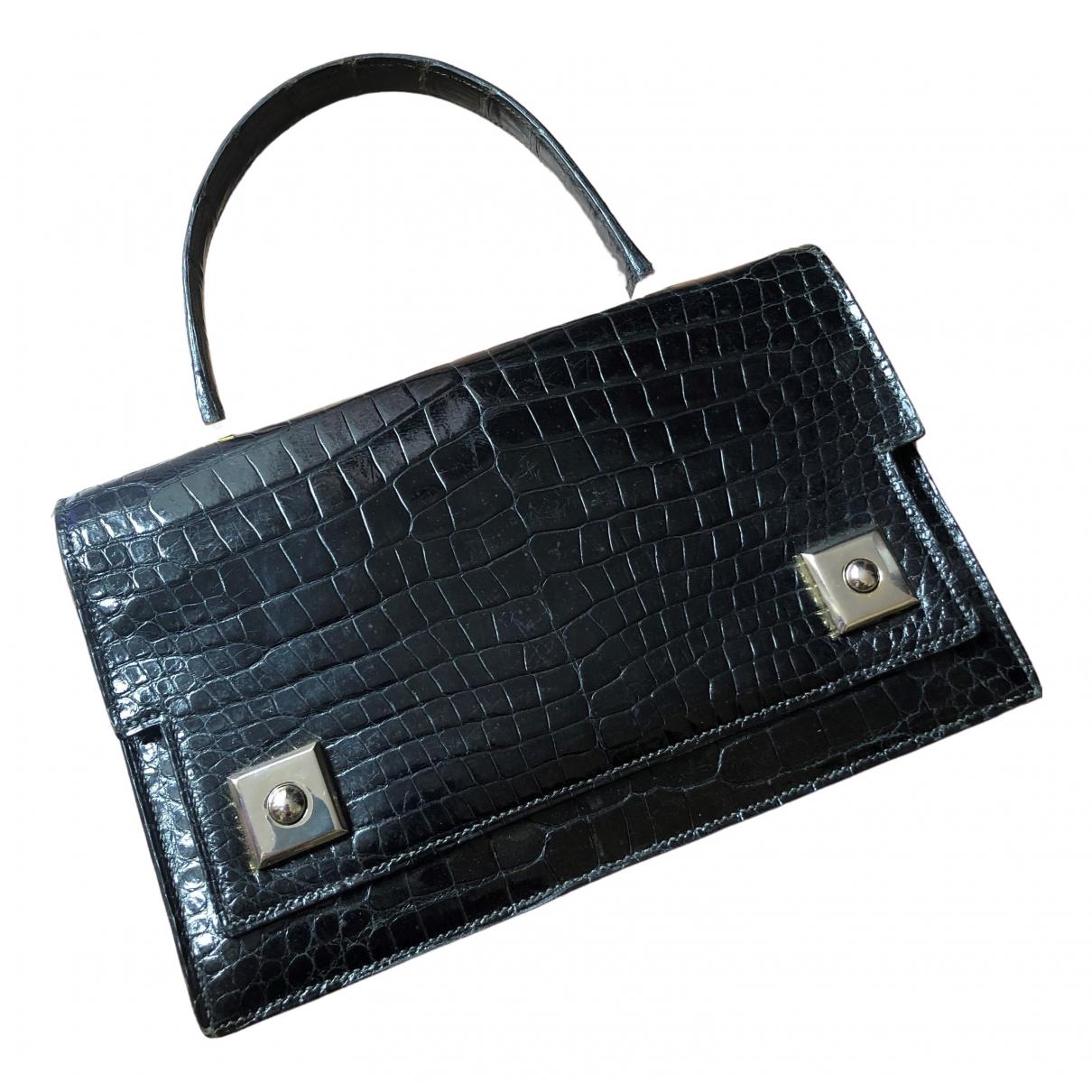 Hermes Piano Handtasche in  Schwarz Krokodil