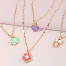 4 Stuecke Kleinkind Maedchen Halskette mit Herzen und Blumen Anhaenger