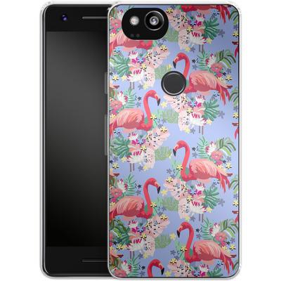 Google Pixel 2 Silikon Handyhuelle - Flamingo Tropical von Mukta Lata Barua