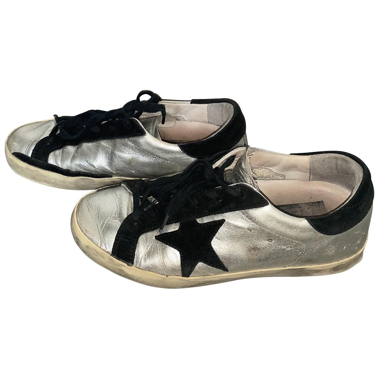 Golden Goose - Baskets Superstar pour femme en cuir - argente