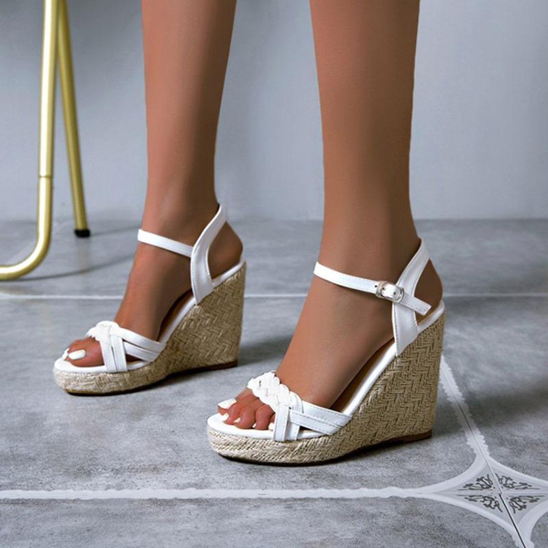 Ericdress Open Toe Wedge Heel Buckle Platform Sandals