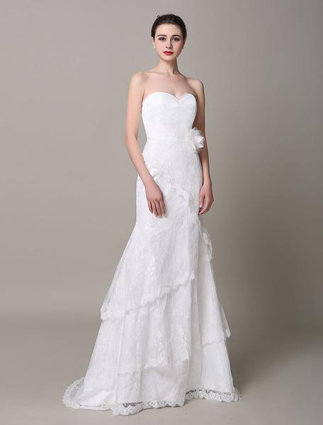 Milanoo Marfil vestido de novia de encaje con escote en corazon y flor