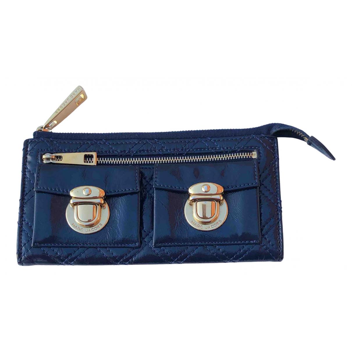 Marc Jacobs - Portefeuille   pour femme en cuir verni - bleu