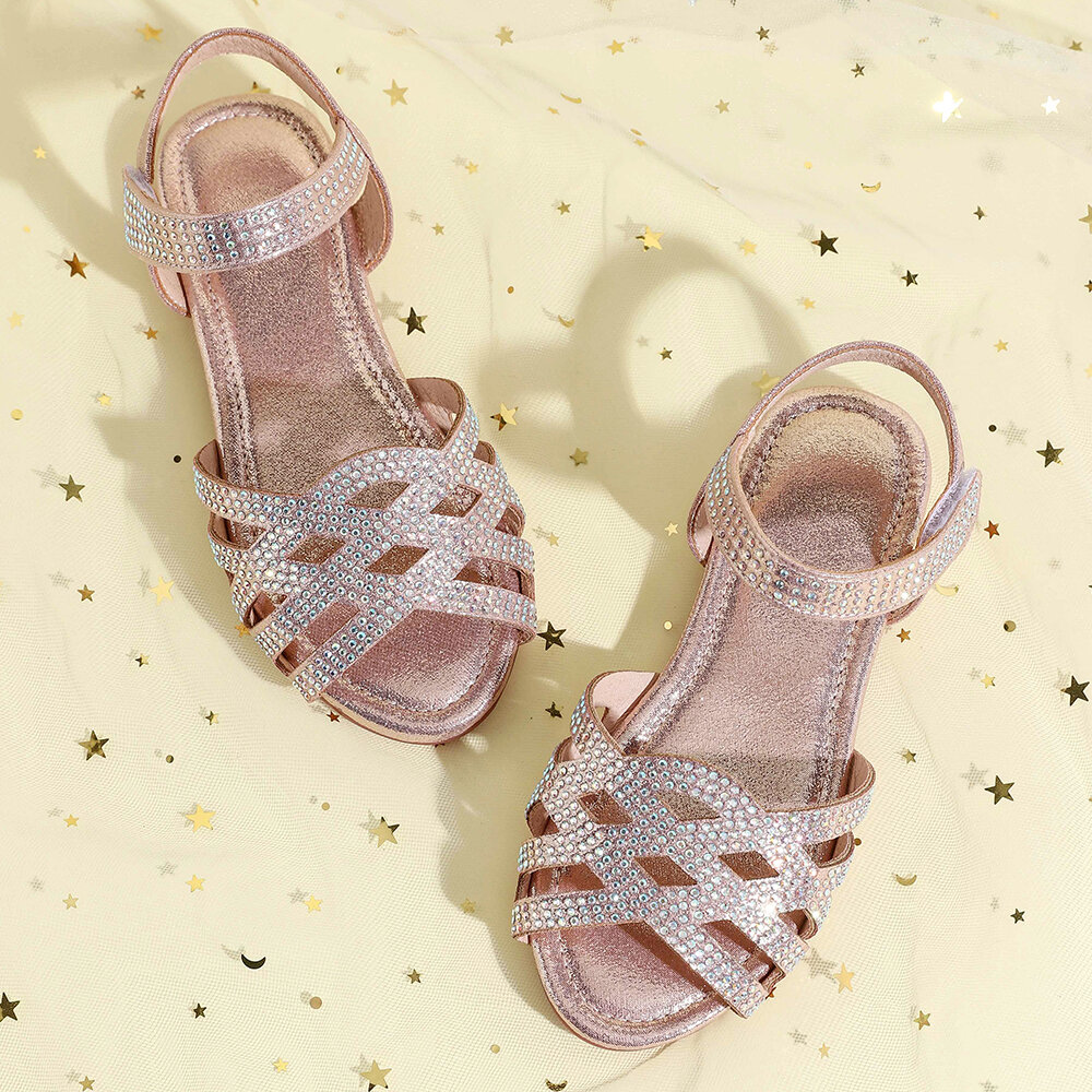 Girls Rhinestone Decor Cross Strap Comfy Non Slip Beach Sandals