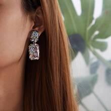 Star Glitter Geometric Drop Earrings 1pair