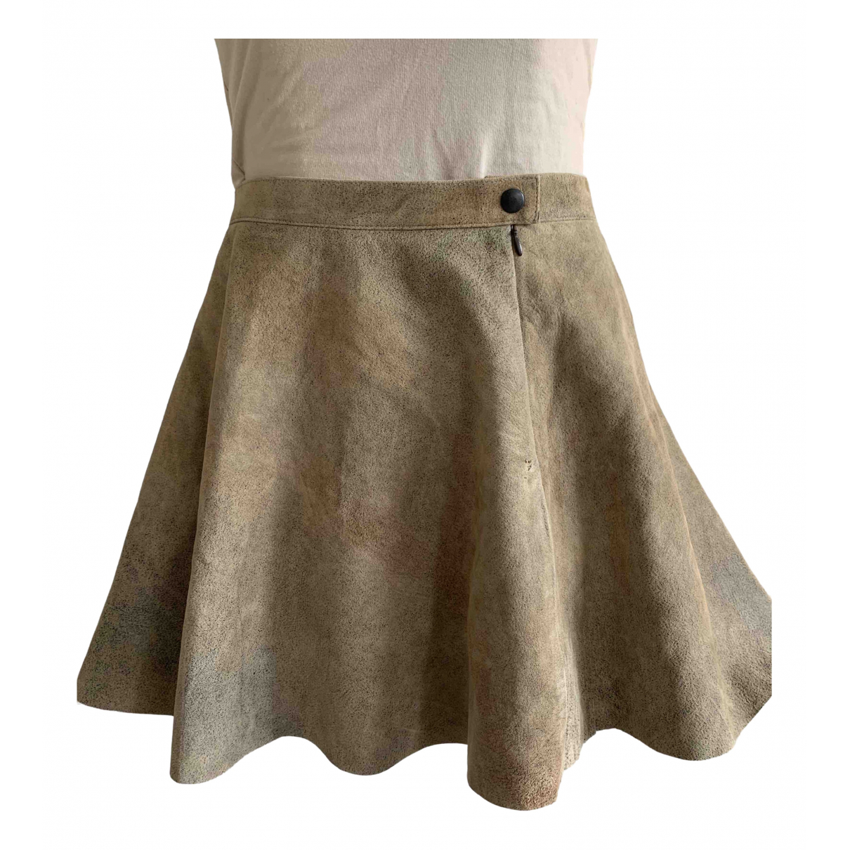 American Apparel - Jupe   pour femme en cuir - beige
