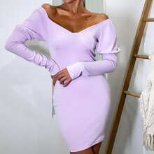 Leg-of-mutton Sleeve Bustier Bodycon Dress
