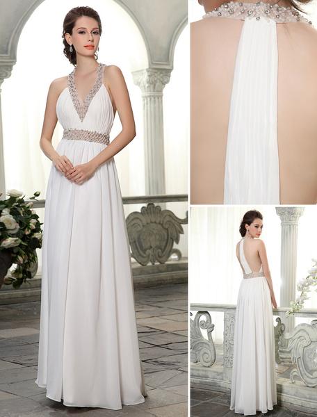 Milanoo Vestido de novia de chifon con cuello en V y pedreria