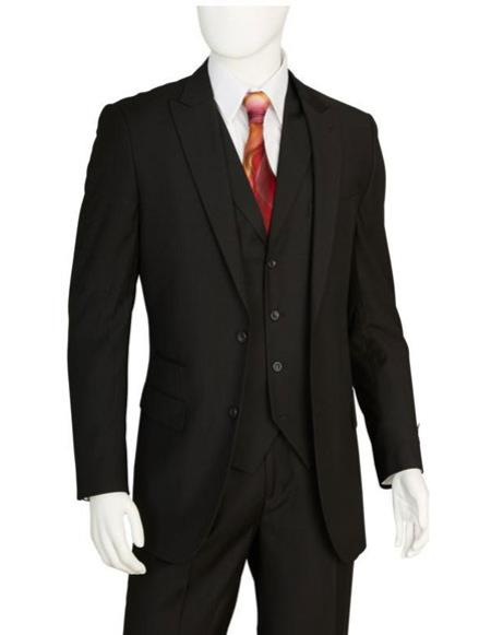 Mens Black 2 Buttons 3 Pieces Vested Suit Pleated Pants Regular Fit