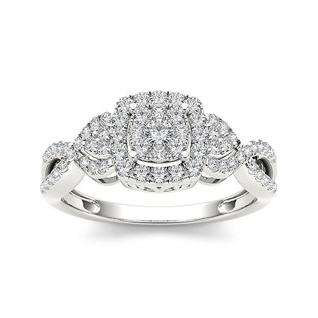 1/2 CT. T.W. Diamond 10K White Gold Engagement Ring, 6 1/2 , No Color Family