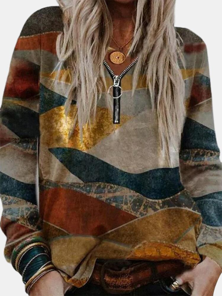 Landscape Printed Long Sleeve V-neck Zip Front Sweatshirt For Women