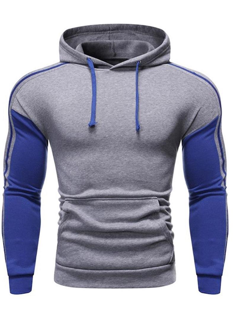 Ericdress Regular Color Block Slim Mens Pullover Hoodies