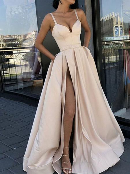 Milanoo Prom Dress A Line Sweetheart Neck Satin Fabric Sleeveless Split Front Floor Length Party Dresses