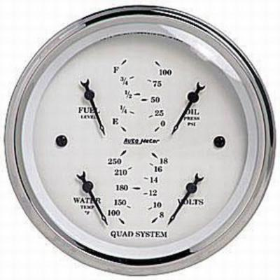 Auto Meter Old Tyme White Quad Gauge, 3 3/8 Inch - AMG1614