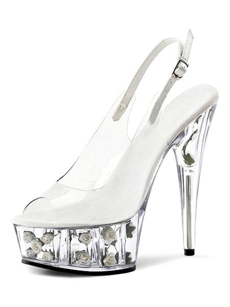 Milanoo Sandalias sexy de tacon alto Mujer Plataforma transparente PU Cuero Peep Toe Slingbacks Zapatos sexy