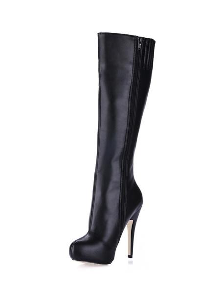 Milanoo de PU de puntera redonda Botas altas mujer Marron botas altas negras 11cm de tacon de stiletto con cremallera Otoño Invierno 1cm