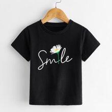 Kleinkind Maedchen T-Shirt mit Buchstaben Grafik